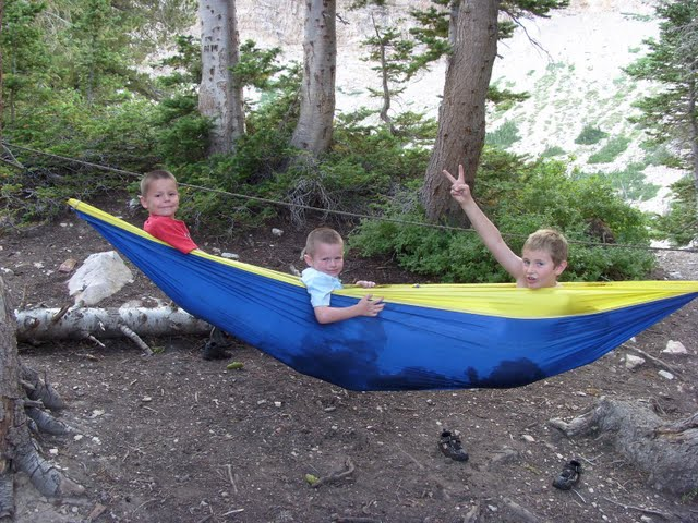 Bridger, Weston, and Real take it easy in Jeff's hammock, which he got in Bali 10 years ago, and which ripped apart shortly after this picture was taken (photo by Clint Thomsen)