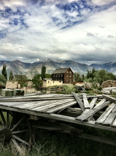 The Benson Grist Mill with Oquirhh Mountains in the background (photo by Clint Thomsen)